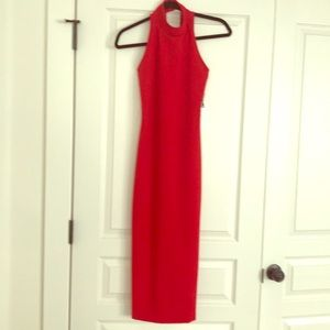Leith mock neck body con dress in red